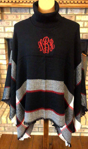 Monogrammed Poncho - Embroidered Knit Turtleneck Ponchos, Black and Red Poncho, Shawl, Cape, Knit Sweater Top, Personalized Gift