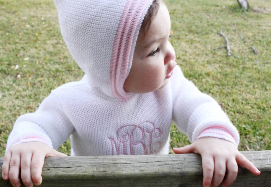 Embroidered Baby Sweater, Julius Berger Zip Up The Back Baby Hoodie, Handmade Knit, Zip Back, Cable Knit, Personalized, Baby Shower, Gift