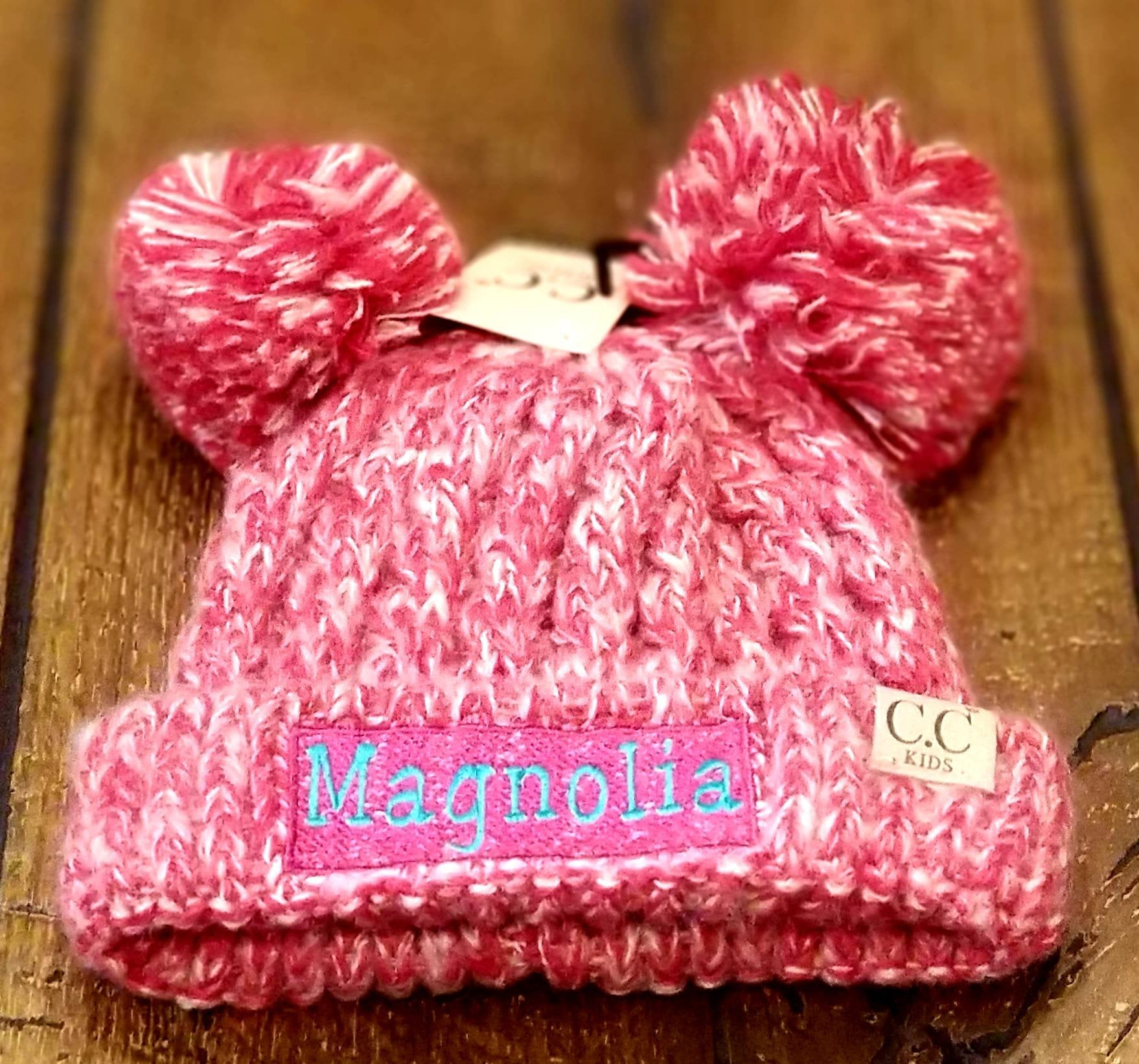 Embroidered Cc Kid S Multi Tone Double Pom Beanies Personalized Chil Mary S Monograms And More