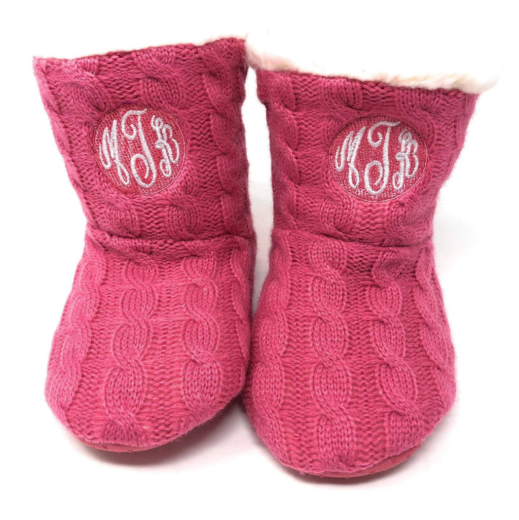 Children's Monogrammed Slippers - Kids Personalized Slipper Boots, Embroidered Cable Knit Booties, Girls Shearling Lined, Toddler and Youth