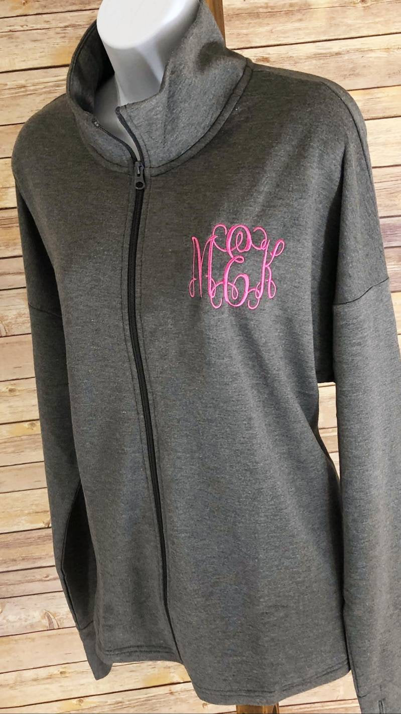 Monogrammed Athleisure Full Zip French Terry Sweat Jackets - Embroidered Grey Zip Up, Pleated Back, Personalized,