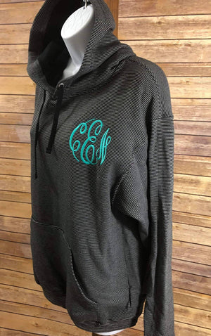 Monogrammed Striped Hoodie - Embroidered Monogram Unisex Hooded Sweatshirt, Personalized Sweat Shirt, Hoodies