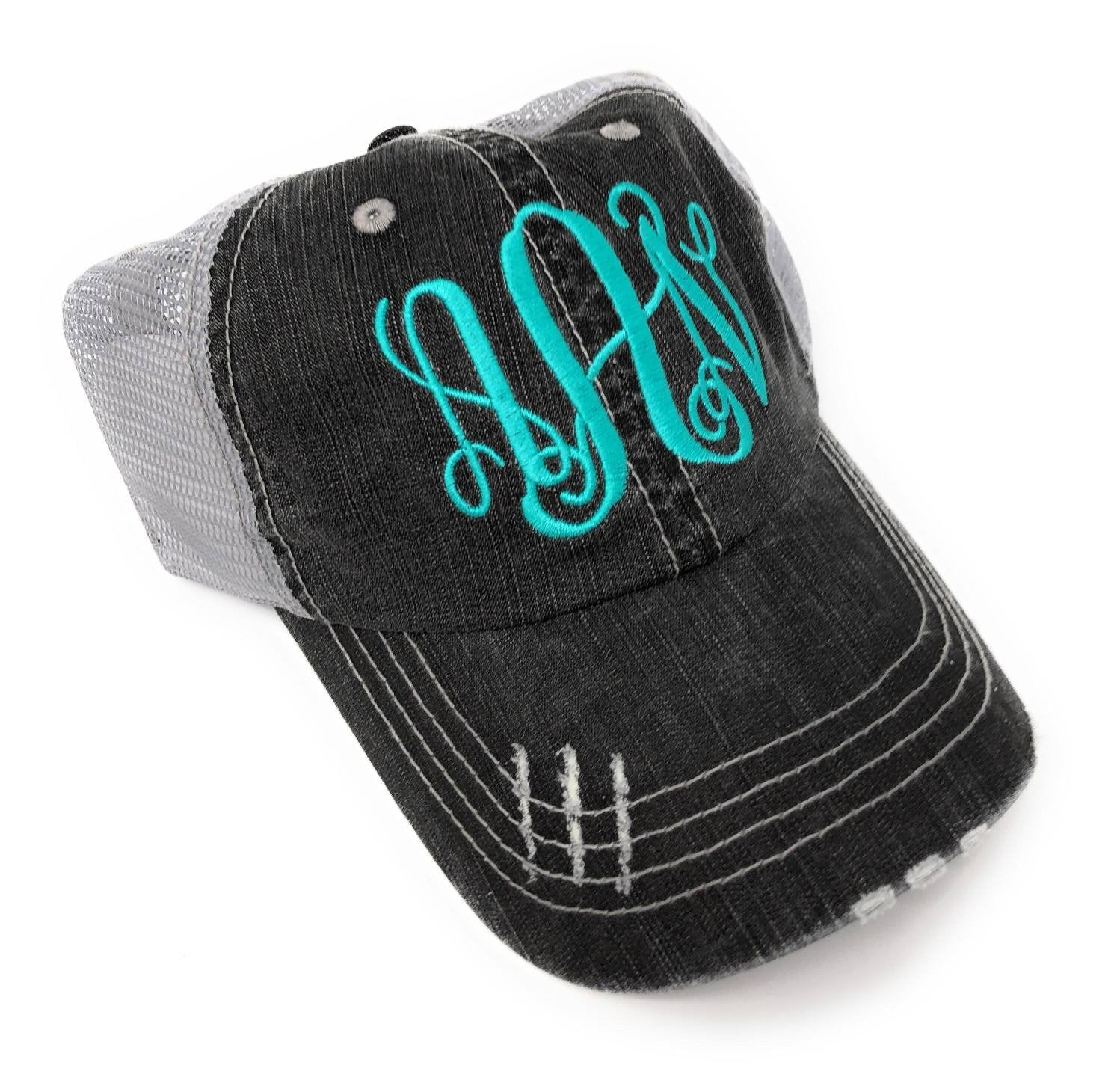 Monogrammed Trucker Hat - Embroidered Monogram, Personalized, Embroidery, Black and Grey Distressed Trucker Hats, Mesh, Torn Baseball Caps
