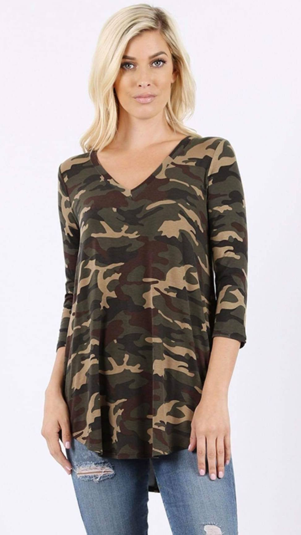 Thankful and Blessed Camo V-Neck Top