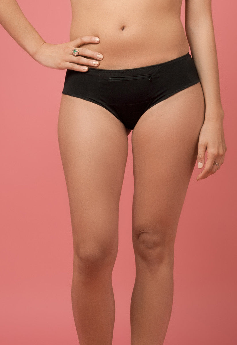 Hipster Panty with Zipper Pocket in Black