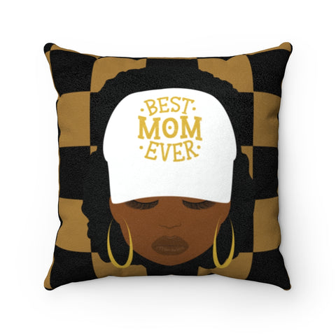 Best Mom Ever Checker - Faux Suede Square Pillow