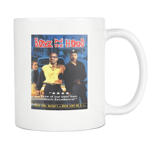 Boyz N The Hood - Barack Obama, Malcom X, and Martin Luther King Jr Mug - Melanin Apparel