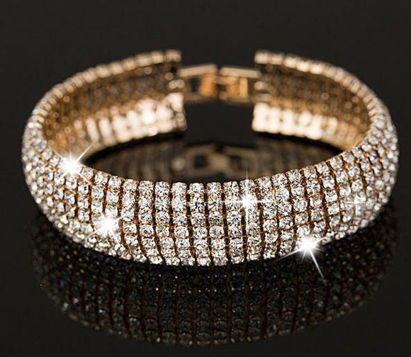 Tanya's Bath and Body bangle bracelet Gold and Silver Classic Crystal Pave Link Bracelet Bangle