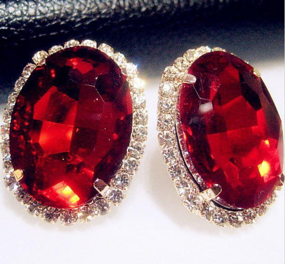 Tanya's Bath and Body Earrings Crystal Red Gem Austrian Oval Shape Large Stud Earrings