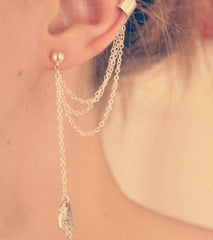 Tanya's Bath and Body Earrings Leaf Chain Tassel Dangle Ear Cuff Wrap Earring Gold or Silver Plated Earrings