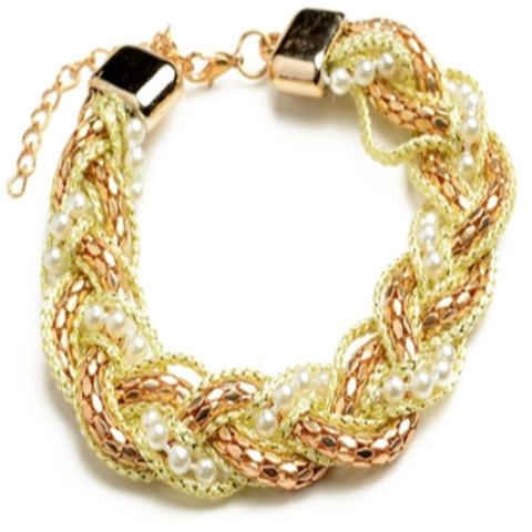 Tanya's Bath and Body Pearl Bracelet with Gold Variety of Chain Layers Pearl Bracelet with Gold Variety of Chain Layers