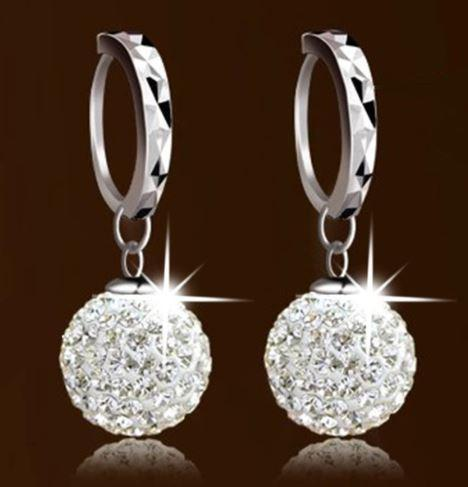 Tanya's Bath and Body silver earrings Luxury Crystal Shamballa Princess Ball Sterling Silver Women Earrings