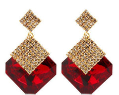 Tanya's Bath and Body Square Crystal Luxury Sparkling Big Drop Earrings