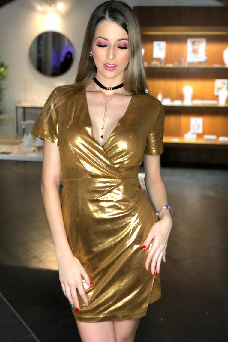 Patricia Metallic Side Gold Dress