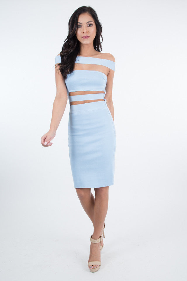 Darla Off Shoulder Open Cut Bandage Light Blue Dress