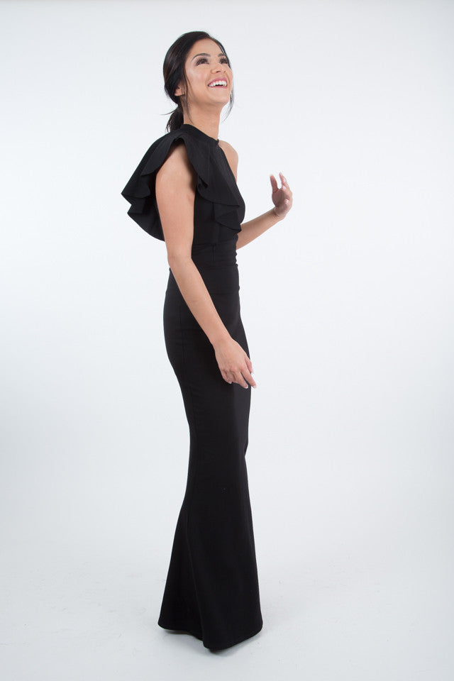 Catherine Black One-Shoulder Ruffle Gown