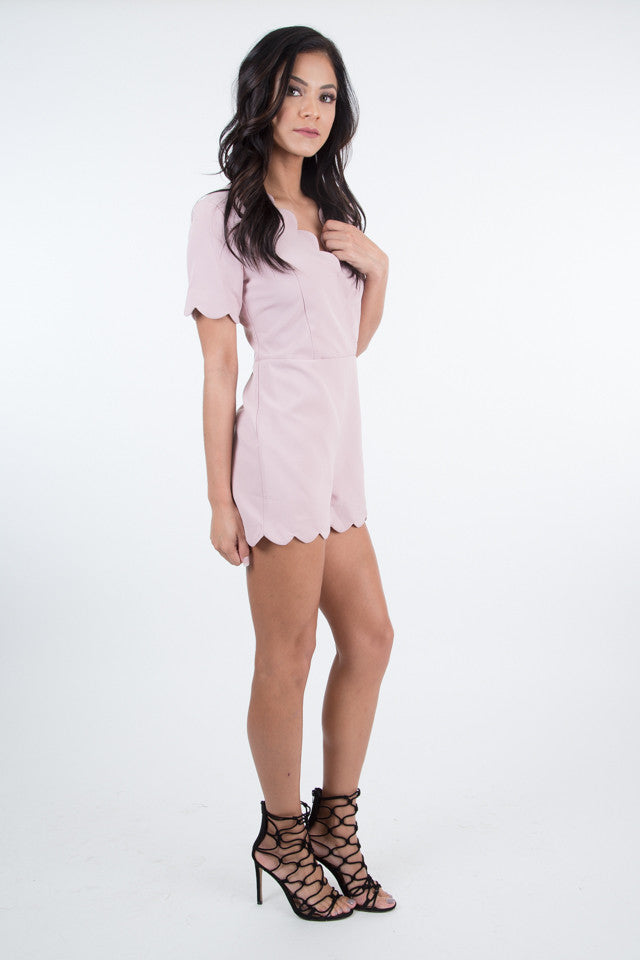 Tamara Scalloped Dusty Pink Romper