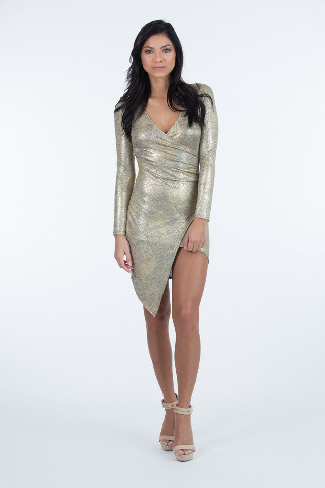 Susana Metallic Gold Dress
