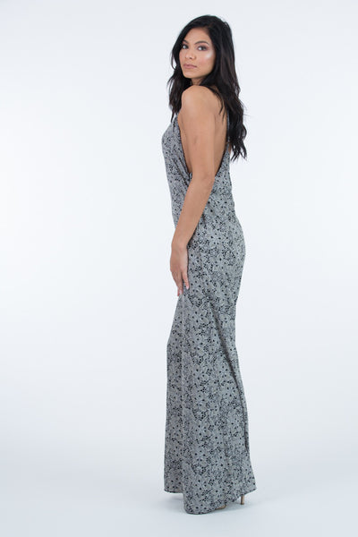 Ximena Flared Grey Jumpsuit