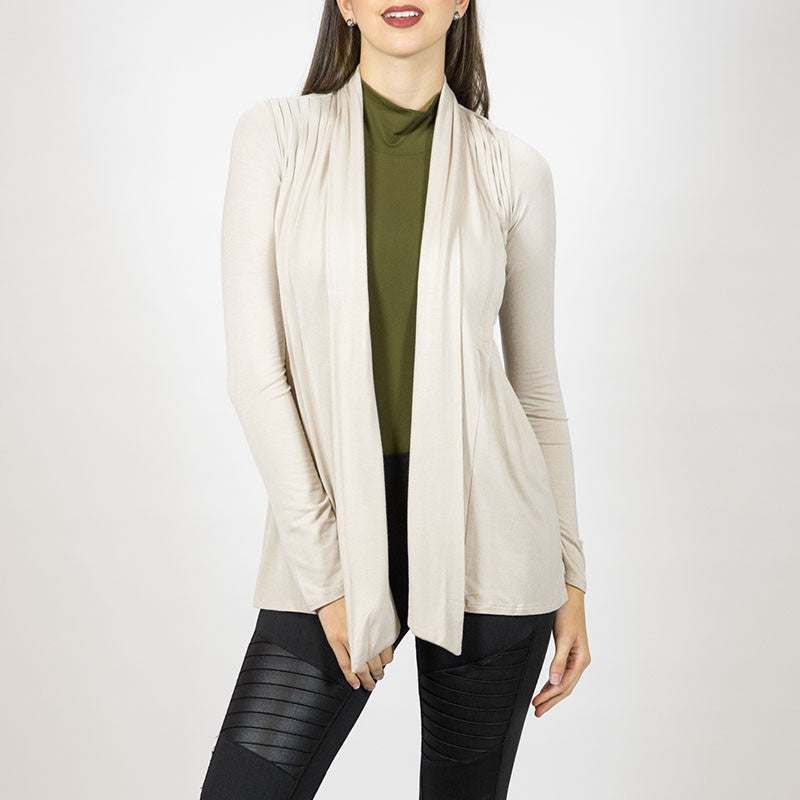 Gina Cream Ruched Cardigan