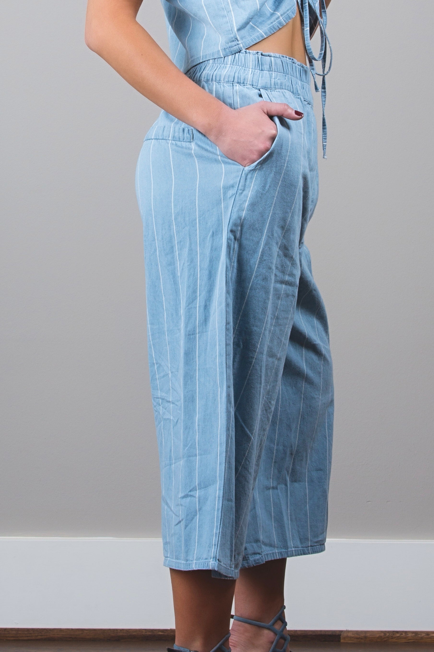 Denim Crop top & Striped pants set
