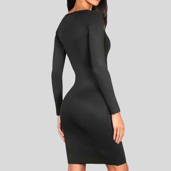 Marianne Bandage Long Sleeve Black Dress