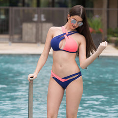 Valentina Crisscross Coral/Navy Swimsuit