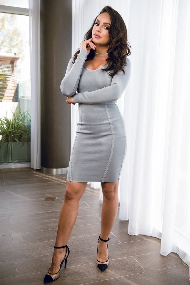Marianne Bandage Long Sleeve Grey Dress
