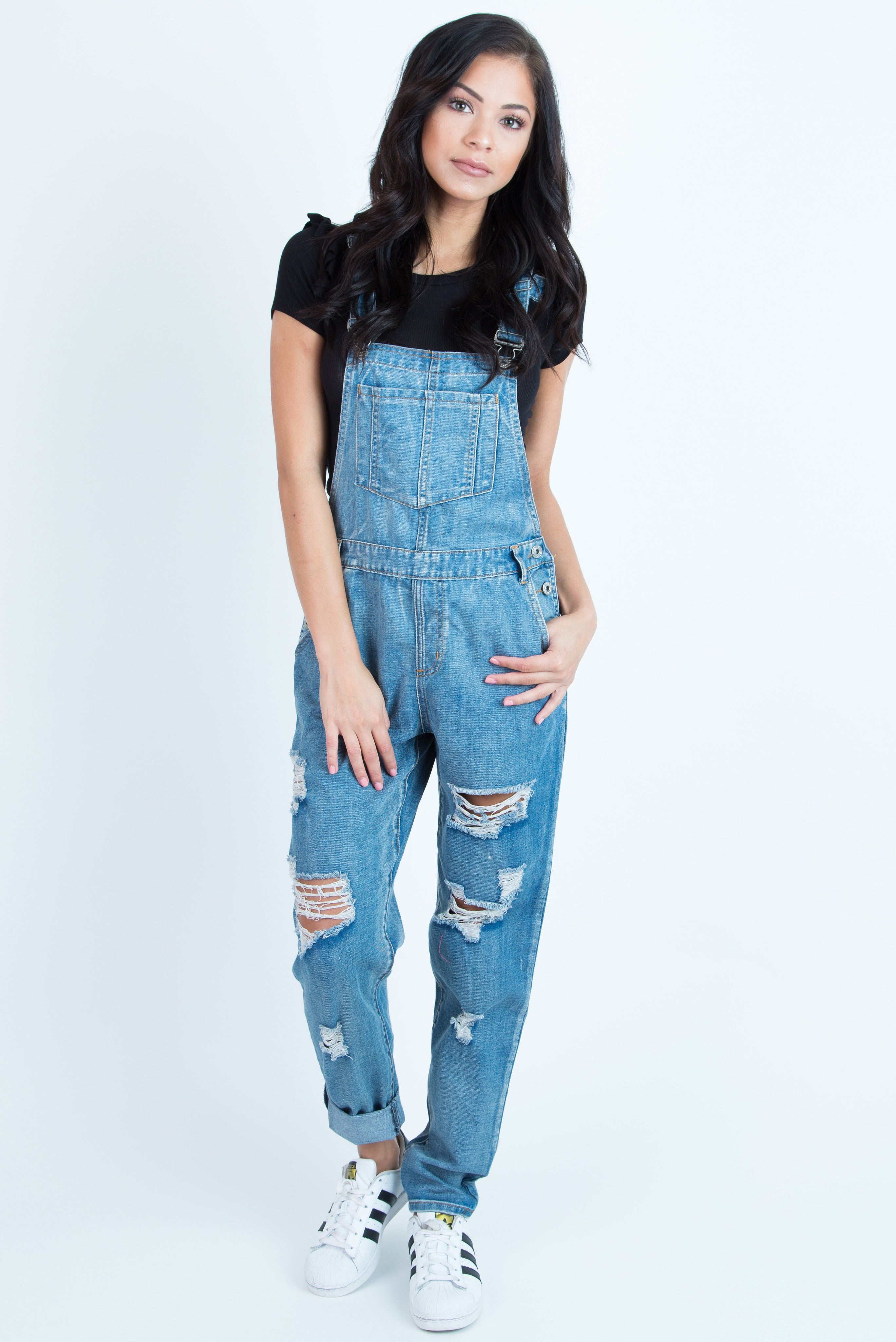 Laura Ripped Denim Overall