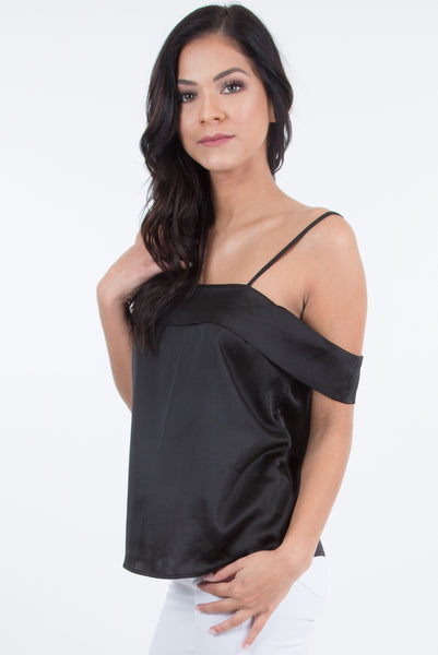 Natalie Black Off-shoulder Satin Camisole Top