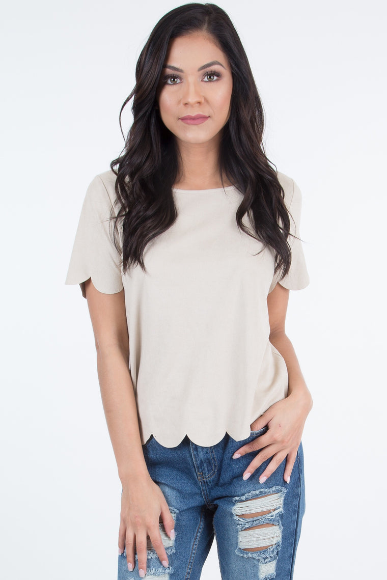 Betina Cream Suede Top