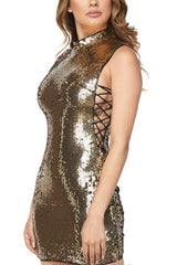 Lerisaa Gold Sequins Dress