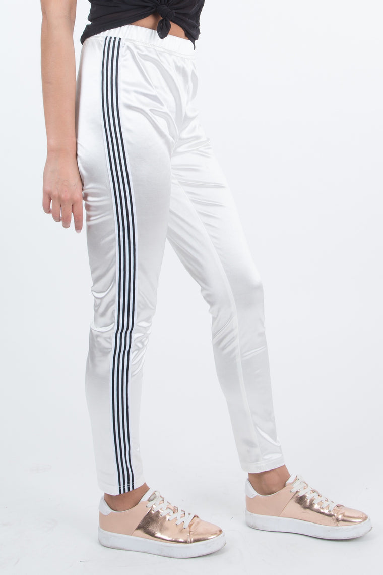 Celine Silk Striped Skinny Joggers