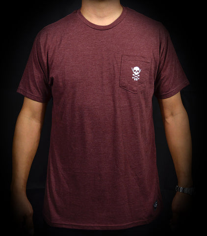Skull Pocket Tee - Heather Burgundy