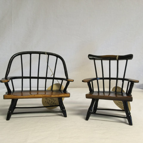079 Doll Furniture, Wooden Bench and Chair, Never Played With. - Colleen's Attic - 1