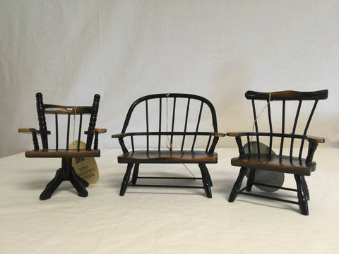 080 Doll Furniture, Wooden Bench and 2 Chairs, Never Played With - Colleen's Attic - 1