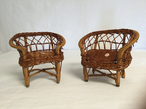 093 Wicker Doll Furniture - 2 love seats or large chairs - Colleen's Attic