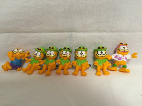 "826 Garfield the Cat Miniature 2"" tall lot of 7 from 1978 - 1981 - Colleen's Attic - 1"