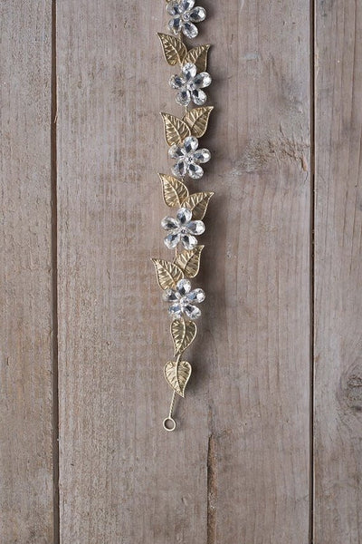 THALASSA - hair vine with delicate Swarovski crystal flower petal and gold plated leaf charms