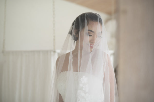 AETHER - Cathedral length veil with handmade floral decor edge detail