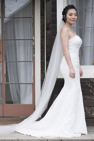 THEIA - strapeless lace trumpet wedding dress
