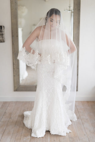 ANATOLE - One Tier Sequin and Lace Cathedral Veil