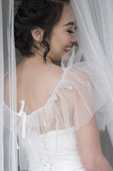 VESTA - Tulle Wrap with pearl beaded neckline