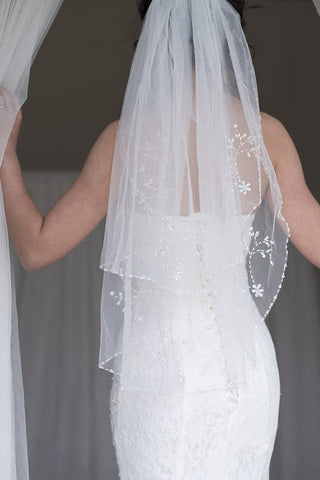 EIRENE - Mid-length Two Tier Veil with hand sewn beaded edge