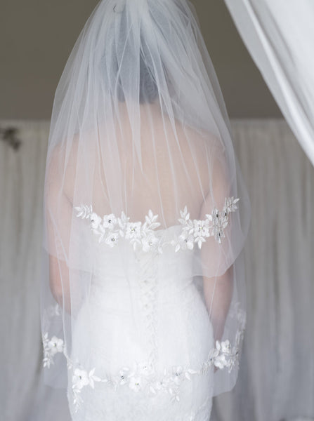 EUTERPE - fingertip length vintage veil with gold and white hand sewn flowers on the edge