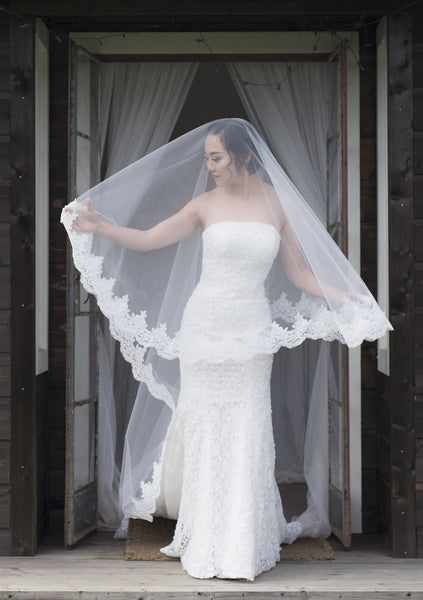 ASTERIA - Cathedral length veil with gorgeous lace edging detail