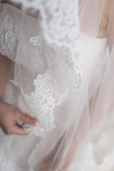 THALIA - Fingertip to Waltz length veil with gorgeous embroidery lace edging