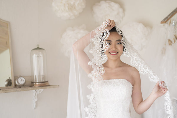 CLIO - Cathedral Veil with breath-taking Lace Edge Design