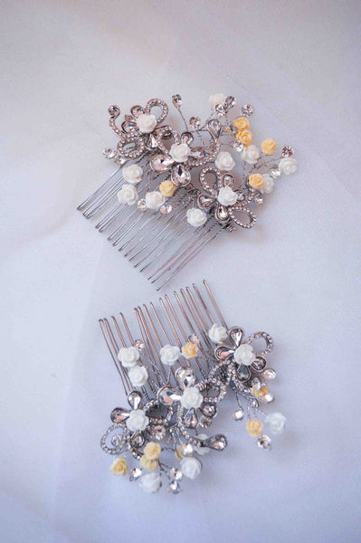 NESOI - Set of Two crystals and rose embeded Hair Combs