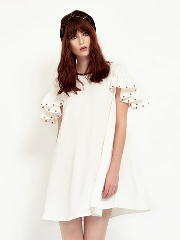 White Chalk Ruffle Dress<BR><H1>白荷葉袖造型洋裝</H1>